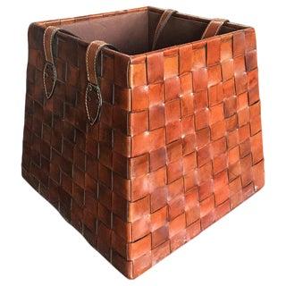 1970s Vintage Italian Leather Basket For Sale