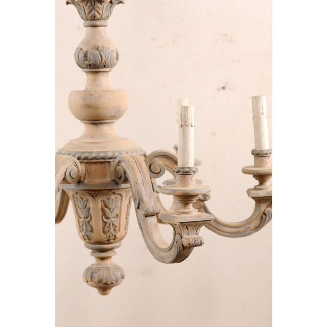 Wood French Vintage Carved & Painted Wood Six-Light Chandelier in Light Beige & Grey For Sale - Image 7 of 9