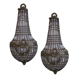 Antique French Crystal Sconces - A Pair For Sale