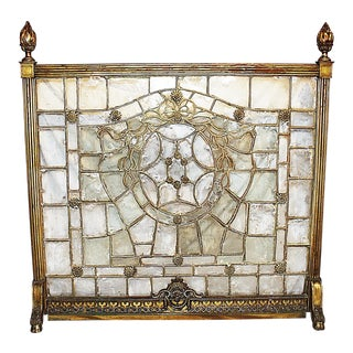 19th Century French Regency Bronze and Glass Fireplace Screen