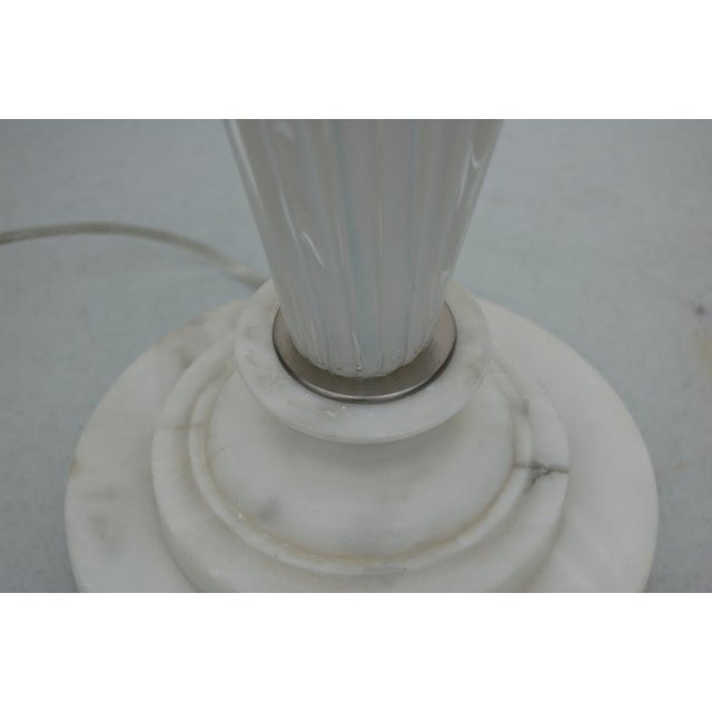 1950s Vintage Murano Opaline Glass Table Lamp White For Sale - Image 5 of 5