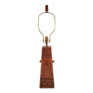 Mid-Century Brandt Ranch Western Oak Lamp For Sale