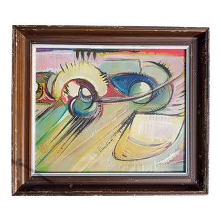 1970s Cubist Style Abstract Oil Painting, Framed For Sale