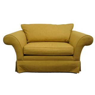 Late 20th Century Vintage Ethan Allen Contemporary Yellow Upholstered Loveseat Sofa For Sale