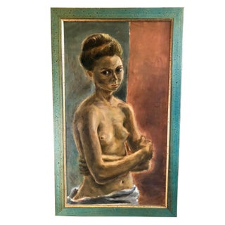 Mid-Century Modern Oil on Canvas of a Standing Nude For Sale