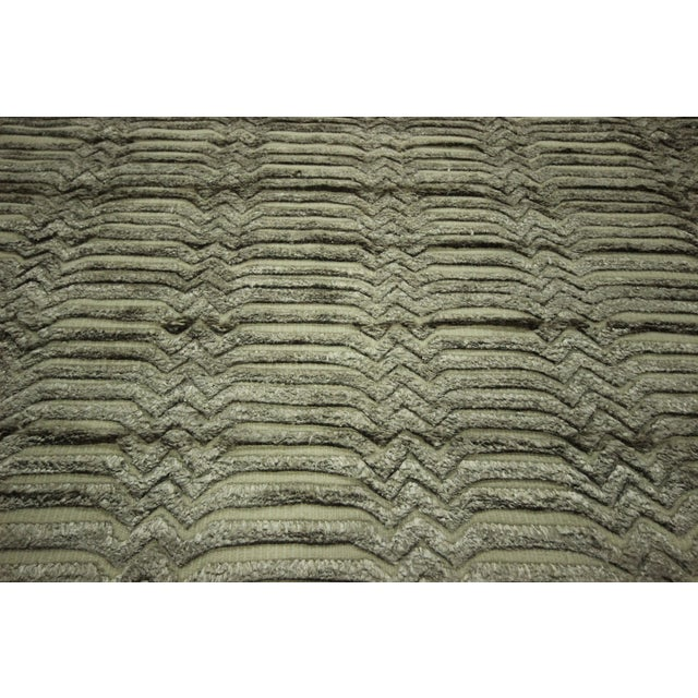 "Wool & Silk Pile Gray Moroccan Rug - 7'4"" x 8'2"" - Image 8 of 10"