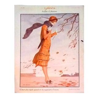 """Leo Fon Fontan 1926 """"Feuilles D' Automne"""" Le Sourire Print For Sale"""