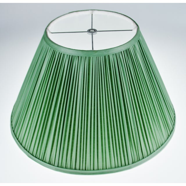 Vintage Green Pleated Fabric Lined Coolie Style Lamp Shade For Sale - Image 4 of 13