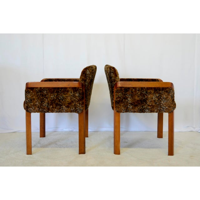Mid-Century Modern 1960's Faux Fur Side Chairs - A Pair For Sale - Image 3 of 7