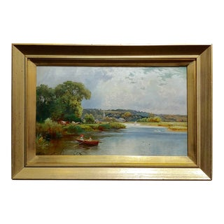 """T. Atkinson """"Romantic Boat Ride on the Lake"""" Oil Painting, 19th Century For Sale"""