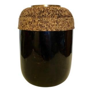 Large Organic Modern Palecek Coconut Shell Domingo Urn For Sale
