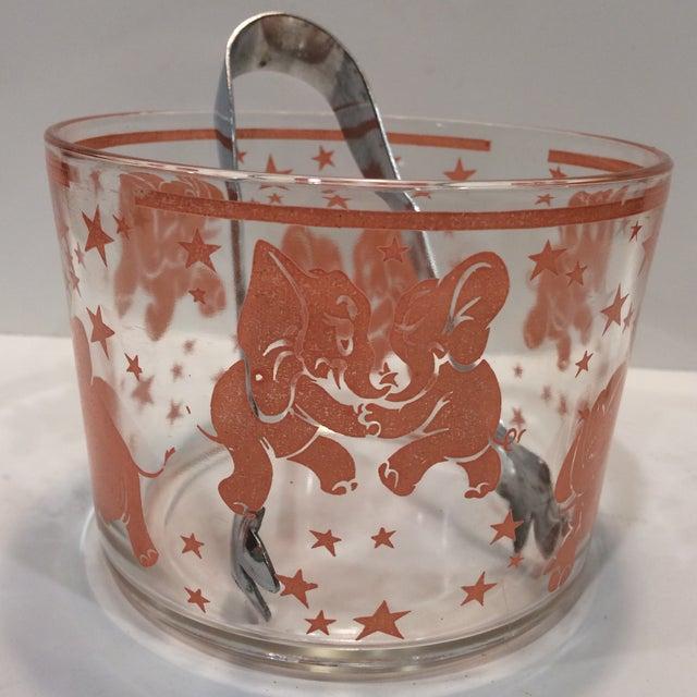 Vintage Hazel-Atlas Glass Pink Elephant Ice Bucket & Tongs - Image 2 of 11