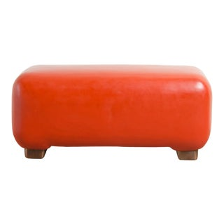 Pong Bench W/ Copper Feet - Coral Lacquer by Robert Kuo For Sale