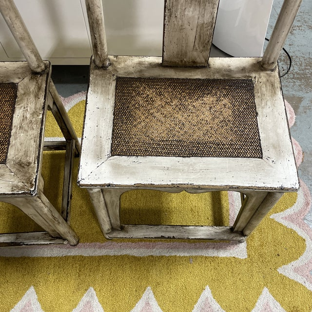 Antique White Vintage Asian Emperor's Chairs - a Pair For Sale - Image 8 of 9