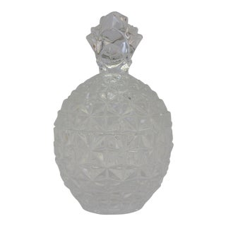 Vintage Glass Pineapple Lidded Vessel For Sale
