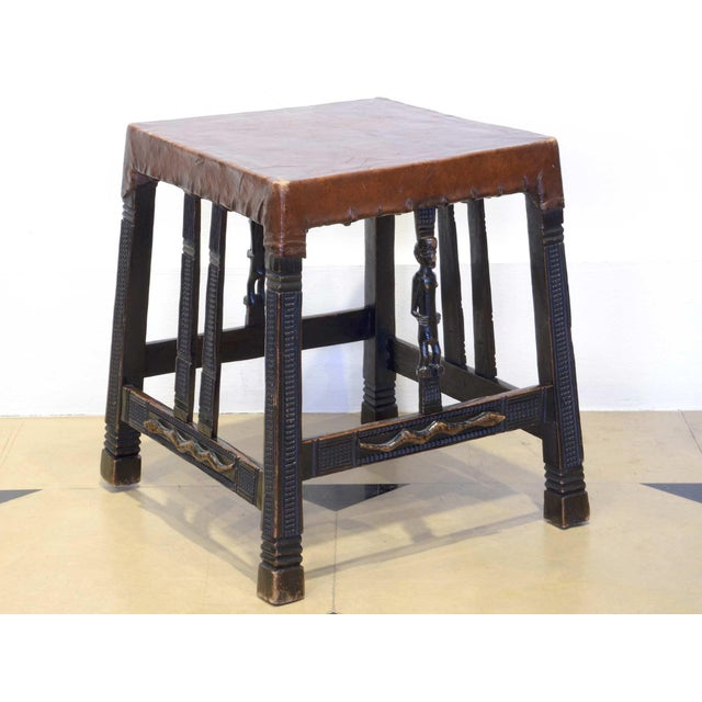 """Set of 4 """"Chokwe"""" African Stools, in Sculpted Wood and Parchment For Sale - Image 4 of 12"""