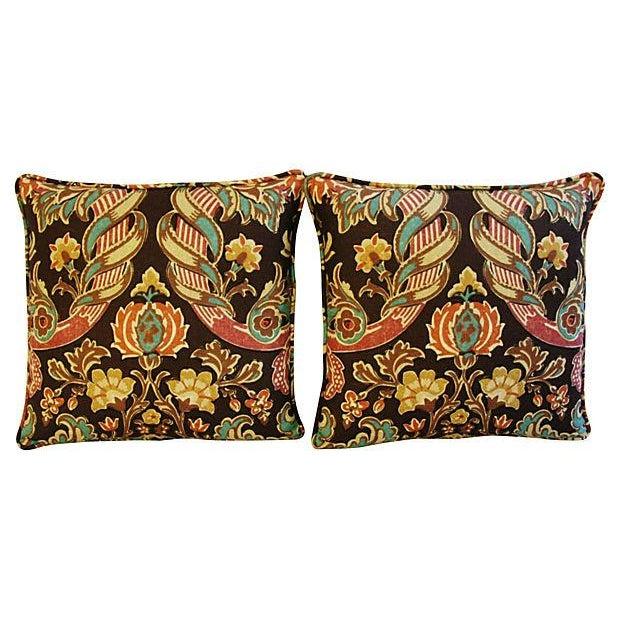 Custom Kravet Lutron Espresso Linen Pillows - Pair - Image 5 of 8