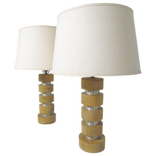 Pair of Spun Aluminum and Maple Table Lamps by Russel Wright For Sale