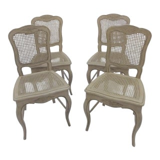 21st Century Painted & Distressed French Cane Chairs - Set of 4 For Sale