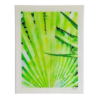 Retro Palms Contemporary Tropical Foliage Digital Watercolor Print by Suzanne MacCrone Rogers For Sale