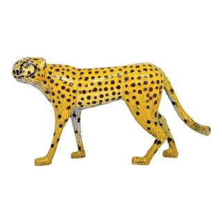 Vintage Chinese Cloisonne Enamel and Brass Cheetah Sculpture - Asian Mid Century Modern Chinoiserrie Palm Beach Boho Chic For Sale