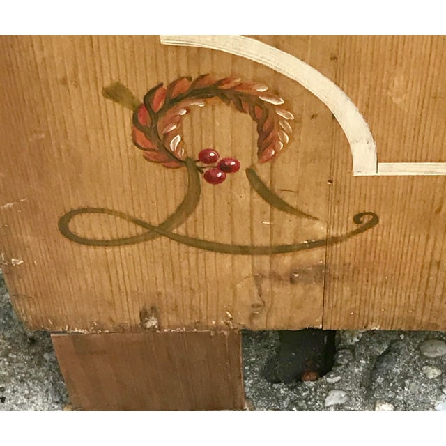 Antique Dutch Folk Decorated Pine Chest For Sale - Image 4 of 12