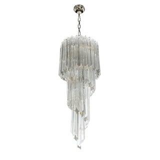 1960s Camer Crystal Spiral Chandelier For Sale
