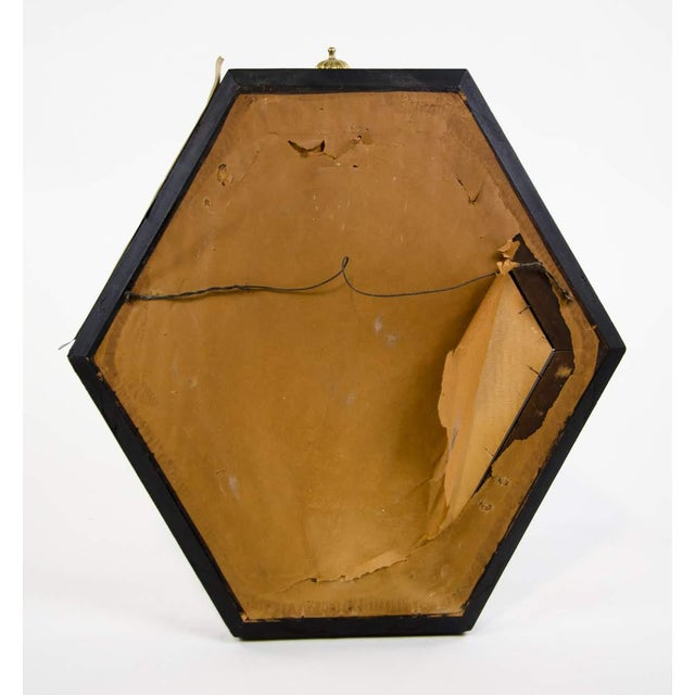 Italian Style Painted and Brass Inlaid Hexagonal Wall Mirror For Sale - Image 11 of 12