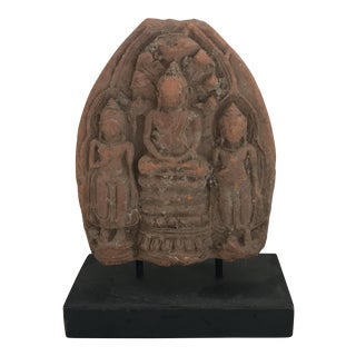 Vintage Burmese Buddha Amulet on Stand For Sale
