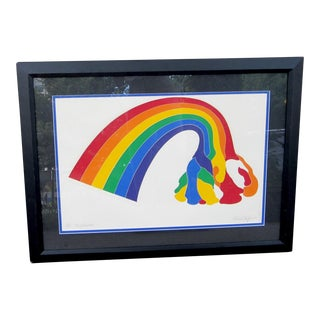 """1970s Vintage Werner Pfeiffer """"Tired Rainbow"""" Limited Edition Signed Serigraph Print For Sale"""