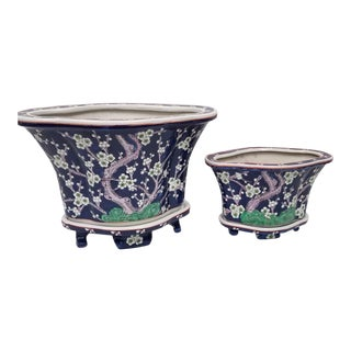Blue and White Tree Flower Antique Chinese Planters with Saucers - a Pair For Sale