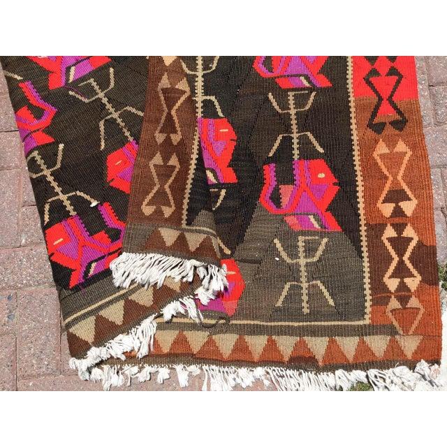 Vintage Floral Kilim Rug For Sale - Image 10 of 11