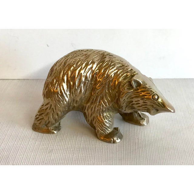 Brass Vintage Mid Century Brass Bear Figurine Paperweight For Sale - Image 7 of 7