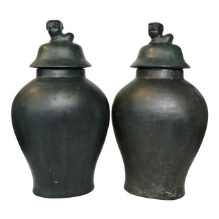 Vintage Maitland Smith Bronze Ginger Jars With Foo Dog Lids - a Pair For Sale