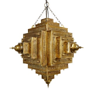 Square Brass Work Lantern Small For Sale