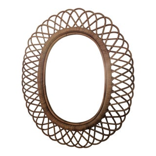 Italian Rosenthal Netter Coiled Wicker Oval Mirror For Sale