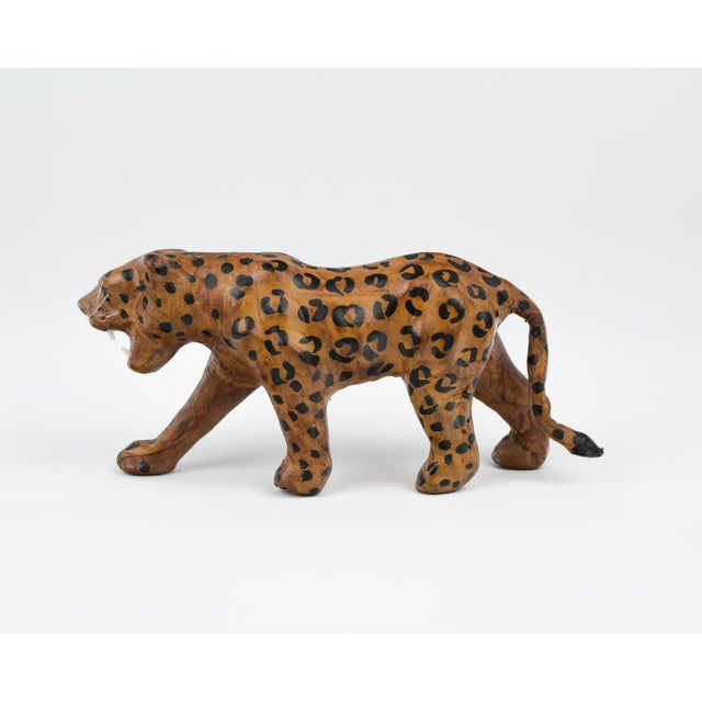 Vintage Hand Painted Leather Leopard Figure For Sale In New York - Image 6 of 13