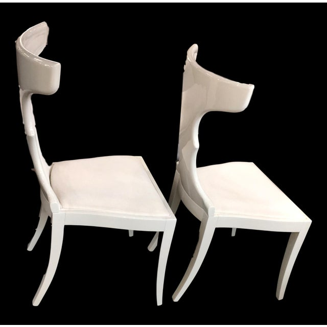 White acrylic lacquer w/white Italian upholstery. Beautifully Handcrafted in Italy.