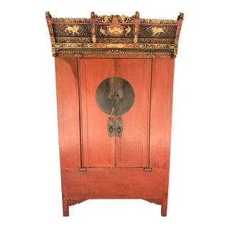 Mid 19th Century Chinese Red Lacquered Ming Style Wedding Cabinet For Sale