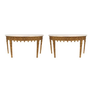 Pair of English Adam Style Demilune Console Table For Sale