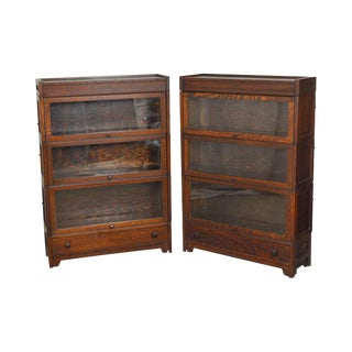 Lundstrom Antique Mission Oak Style Stacking Barrister Bookcases - A Pair
