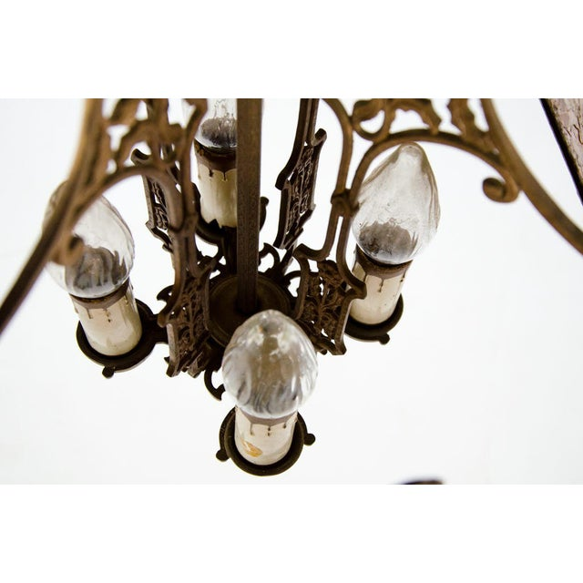 Victorian Style Mica 4 Light Chandelier For Sale - Image 12 of 13