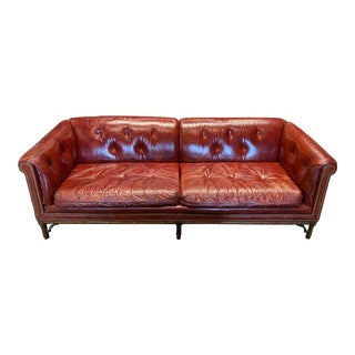 Vintage Tufted Leather Chesterfield Sofa For Sale