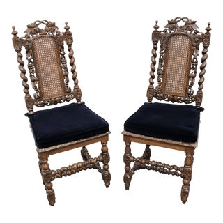Late 19th Century Antique Jacobean Caned Back and Bottom Chairs- A Pair For Sale