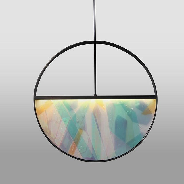 Contemporary Phase Pendant in Contemporary Blackened Steel With Layered Resin Inlay For Sale - Image 3 of 3