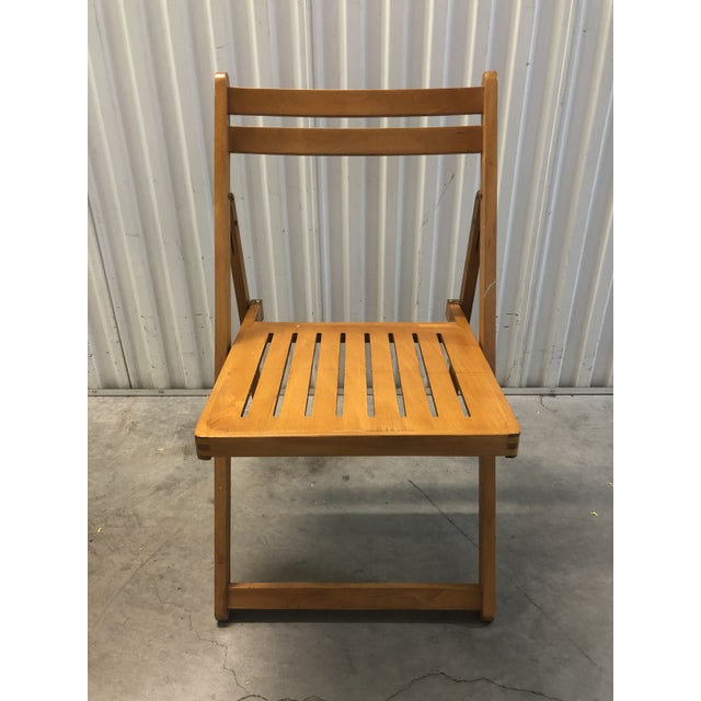 Mid-Century Modern 1960s Vintage Danish Romanian Wood Folding Dining Chair For Sale - Image 3 of 11