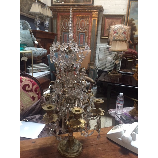 Early 19th Century French Dore Bronze & Crystal Girandoles - a Pair For Sale - Image 11 of 12