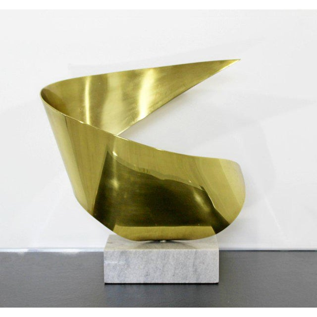 Mid-Century Modern Bronze Ribbon Marble Table Sculpture Signed James Nani 1978 For Sale - Image 11 of 13