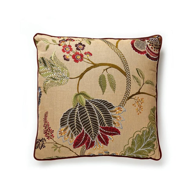 Palampore embroidery pillow. Feather down insert included, hidden zipper closure.