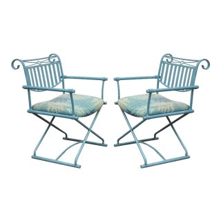 Pair of Vintage Hollywood Regency X Form Blue Iron Curule Directors Arm Chairs A